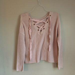 EUC Chunky knit sweater size large Garage PINK